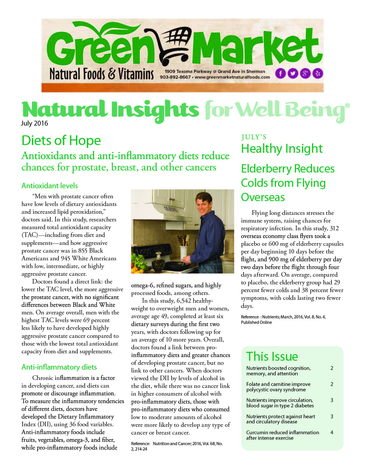 July 2016 Natural Insights for Well Being Newsletter Green Market Sherman